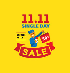 Single day sale with one human hand hold vector