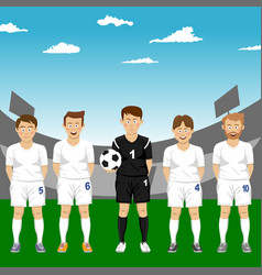 Soccer players team group in stadium vector