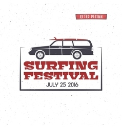 Surfing festival label vintage surfing badge and vector