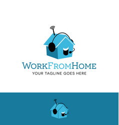 talking house logo with headset vector image