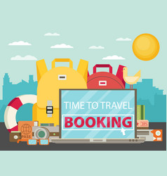 time to travel set of travel equipment flat vector image vector image