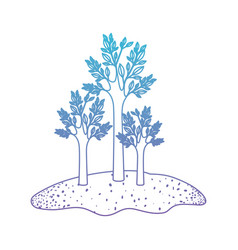 Trees set in grassland in degraded blue to purple vector