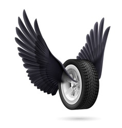 Wheel with wings vector