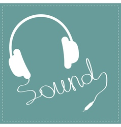 White headphones with cord in shape of word sound vector