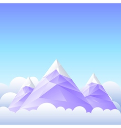Three mountain peaks and the sky vector