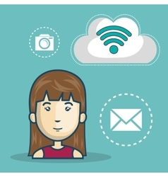 Avatar woman and wireless icon vector