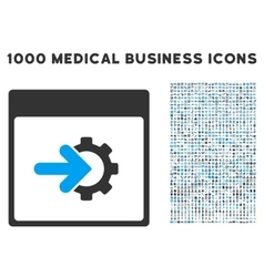 Cog integration calendar page icon with 1000 vector