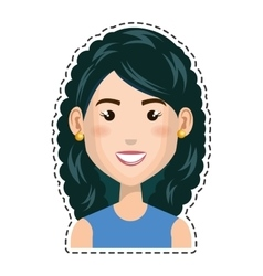 Woman character with cutting line vector