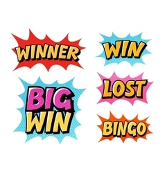 Casino or game icons lettering such as win vector