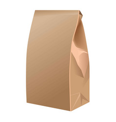 Takeaway closed paper bag isolated on white vector