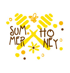 Summer honey logo colorful hand drawn vector