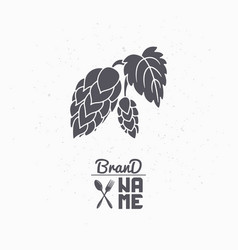 Hand drawn silhouette of hop branch vector