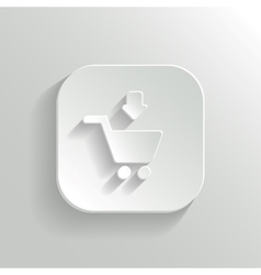 Add to shopping cart icon - white app button vector image
