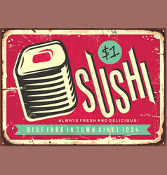 Food sign with fresh and delicious sushi vector