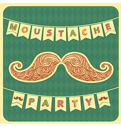 Moustache party background with text vector image