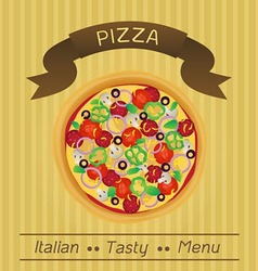 Italian tasty pizza menu vector
