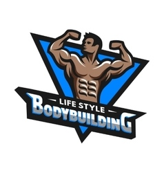 Posing bodybuilder badge emblem vector