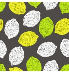 Seamless pattern with lemons scribbles vector