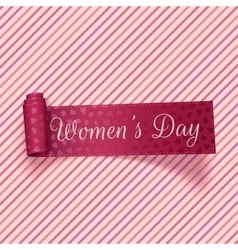 Womens day realistic pink festive ribbon vector