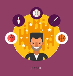 In flat design style sport icons and sportsman vector