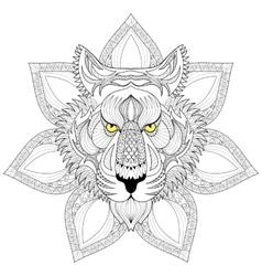Tiger Zentangle Tiger face on mandala vector image
