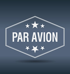 Par avion hexagonal white vintage retro style vector