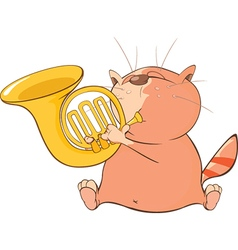 Cute cat trumpeter cartoon vector