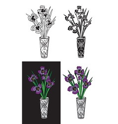 Iris flower in crystal vase vector