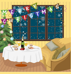 Christmas interior room with decorated table vector