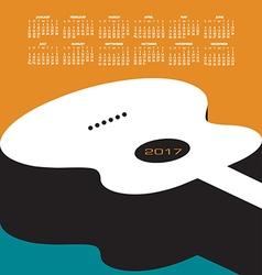 A 2017 calendar with a guitar theme vector