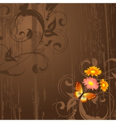 abstract grunge background with flowers vector image vector image