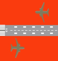 Airplane and Number 13 of runway vector image vector image