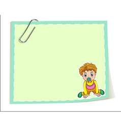 An empty paper template with a paper clip and a vector image vector image
