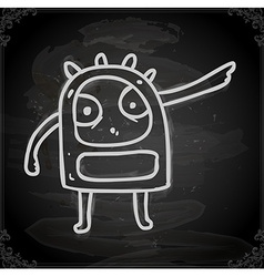 Angry alien drawing on chalk board vector