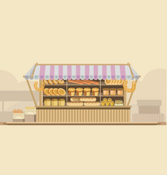bakery bread stand counter booth product vector image vector image