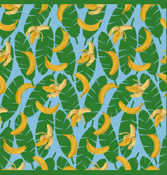 bananas and leaves seamless pattern vector image vector image