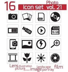 black photo icon set vector image vector image
