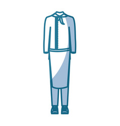 Blue silhouette shading of cooking clothing vector