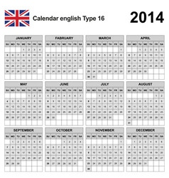 Calendar 2014 english type 16 vector