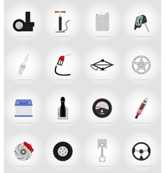 car equipment flat icons 17 vector image