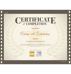 Certificate of completion template movie theme vector