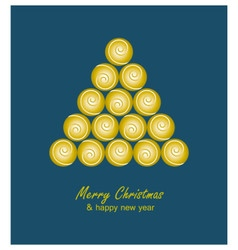 Christmas card with golden tree and balls on blue vector