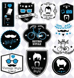 Collection of vintage hipster badges labels and vector