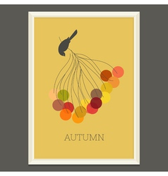 Colorful autumn poster with berries and bird vector