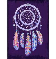 Colorfull dreamcatcher on the violet background vector
