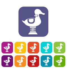 Duck spring see saw icons set vector