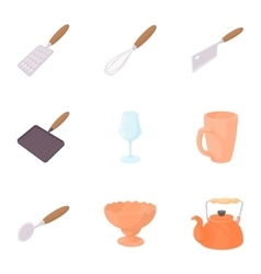 Eating utensils icons set cartoon style vector