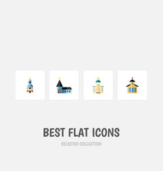 Flat icon church set of catholic christian vector