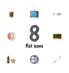 Flat icon oneday set of fried egg television vector