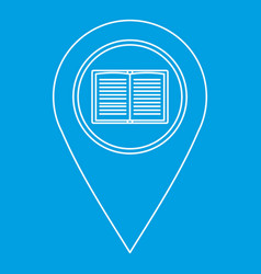 Geo tag with book sign icon outline style vector